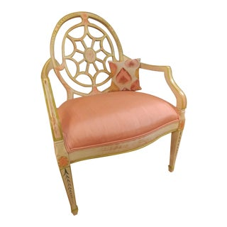 Adams Style Wheel Back Carved Arm Chair For Sale