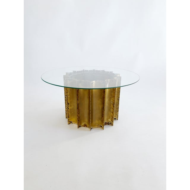 1970s Tom Greene Brutalist Brass Coffee Table Glass Top For Sale In New York - Image 6 of 6