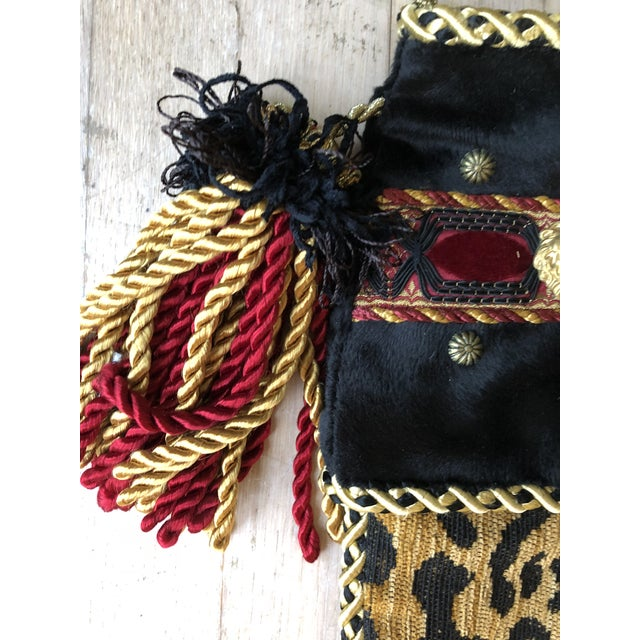 Shabby Chic Christmas Stocking in Leopard For Sale - Image 3 of 5