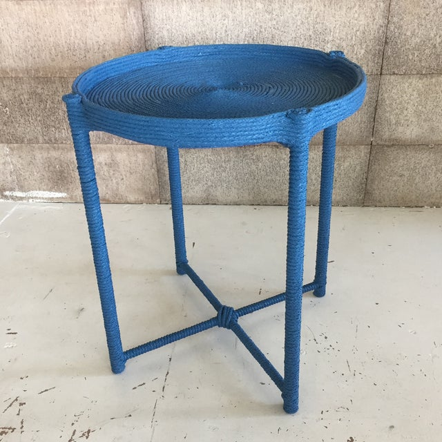 Blue Contemporary Prussian Blue Rope Side Table For Sale - Image 8 of 8