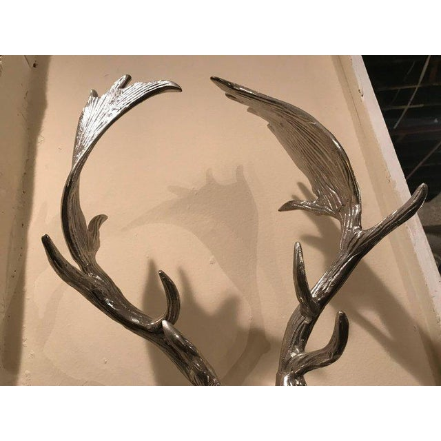 Hollywood Regency Style Silver Metal Antelope Coat Rack For Sale In New York - Image 6 of 11