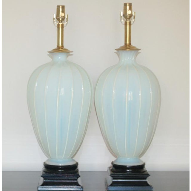 Statuesque, creamy vintage WHITE OPALINE Murano glass table lamps from Marbro that read as SOFT BLUE. If you follow our...