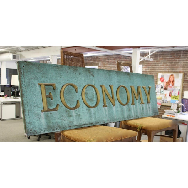 Industrial Early 20th Century Antique Economy Sign For Sale - Image 3 of 9