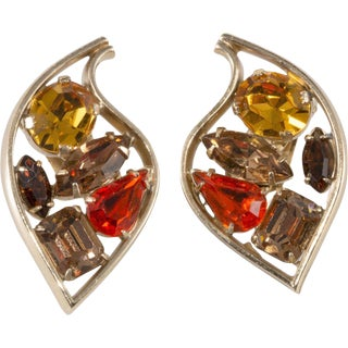 Napier 1950s Vintage Stylized Abstract Modernist Leaf Rhinestone Earrings Fall For Sale