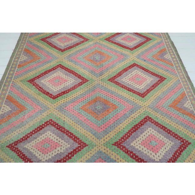 Boho Chic Anatolian Kilim Turkish Embroidery Rug For Sale - Image 3 of 13