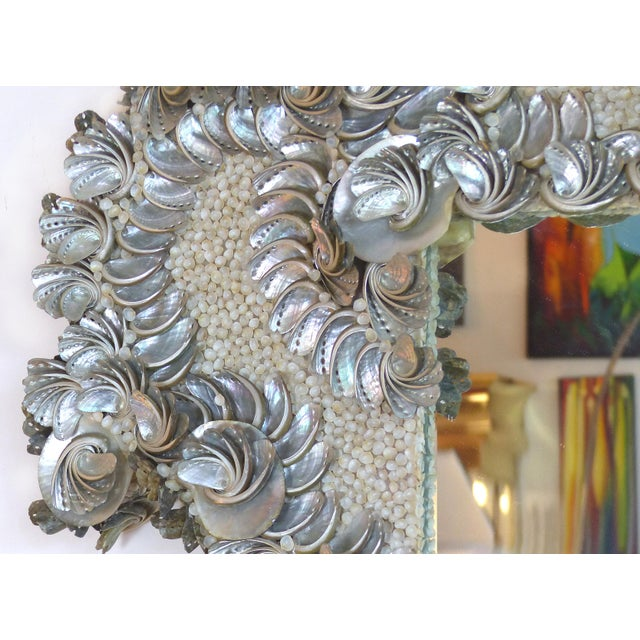 Palm Beach Chic Mother-Of-Pearl Shell Encrusted Mirror For Sale - Image 10 of 13