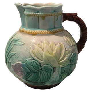 Antique Majolica Water Lily Pottery Pitcher For Sale