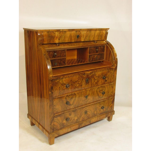 Early 19th Century 19th-C. Biedermeier Cylinder Secretary Desk For Sale - Image 5 of 13