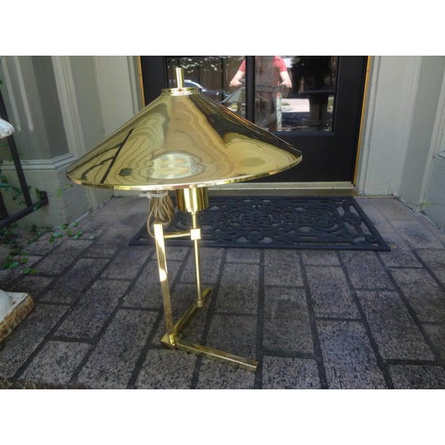 Vintage Polished Brass Lamp With Brass Shade For Sale - Image 10 of 13