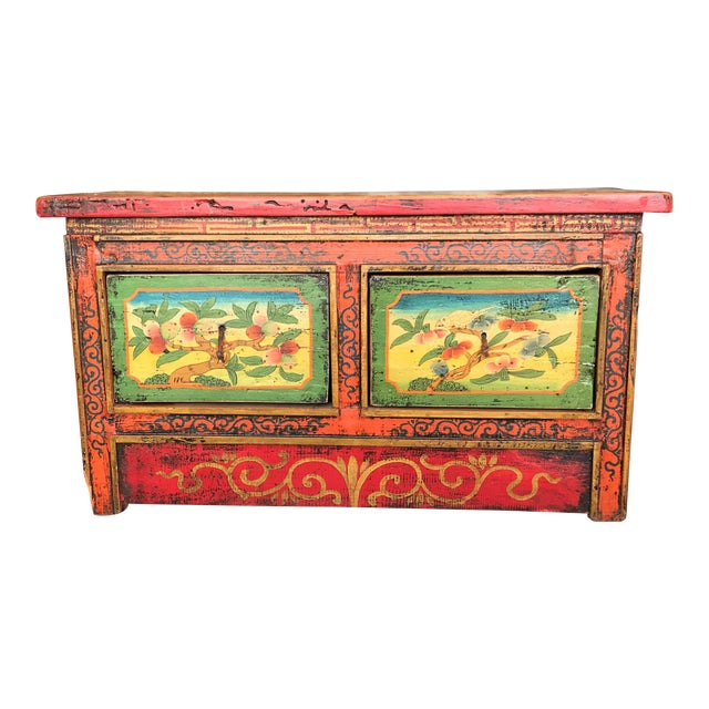 Antique Hand Painted Tibetan Chest For Sale