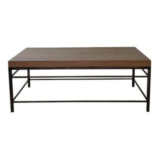 Solid Wood Top Metal Base Coffee Table For Sale