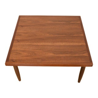 Mid Century Walnut Square Coffee Table For Sale
