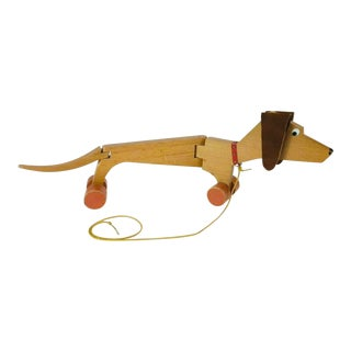 Antique 1930 Handmade 2 Ft Dachshund Doxie Weiner Dog Jointed Wood Pull Toy Germany For Sale