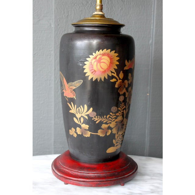 Antique Japanese Bird & Flower Enameled Lamp Chinoiserie Silk Pagoda Shade For Sale - Image 4 of 5