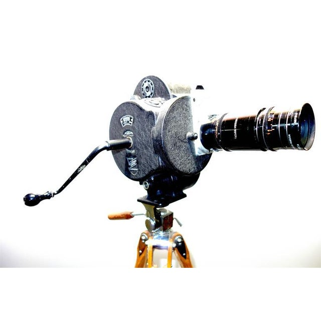 Black Movie Camera Hand Crank Winder Circa 1931 With Wood Tripod. Display As Vintage Sculpture. For Sale - Image 8 of 9