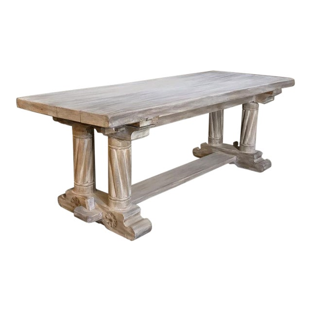 Antique Rustic Gothic Stripped Oak Dining Table For Sale
