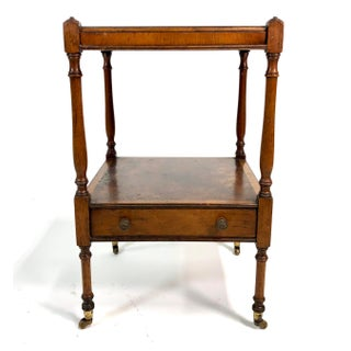 Diminutive Mahogany & Burl 2-Tier Side English Style Side Table Preview