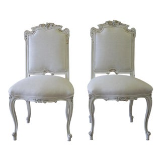 19th Century Antique Rococo Style Carved and Painted Linen Vanity Chairs - a Pair