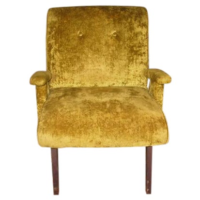 MCM 60s Chartruese Velour Chair - Image 1 of 8