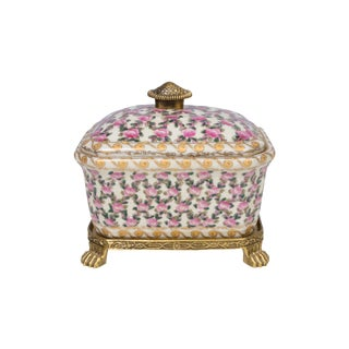 Pink Floral Porcelain Candy Box Ormolu Accents For Sale