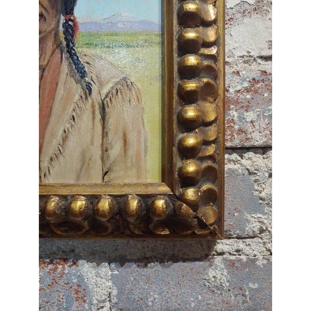 1960s Joseph Hoffman -Portrait of Chief Joseph -Native American Oil Painting For Sale - Image 5 of 9