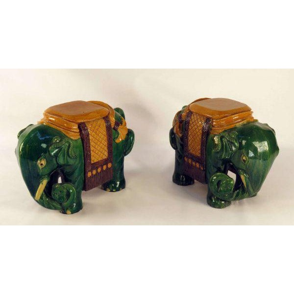 Circa 1850 Ching Dynasty Green Glazed Elephant Garden Seats - A Pair For Sale - Image 4 of 7