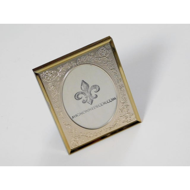Metal Brass Floral Picture Frame For Sale - Image 7 of 7