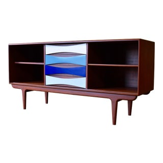 Shades of Blue Mid Century Modern Credenza / Sideboard / Media Stand For Sale