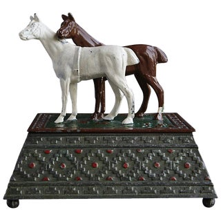 Metal Tobacco or Cigarette Box Decorated With Two Horses, Austria, Circa 1920s For Sale