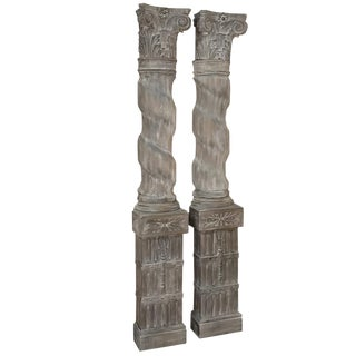 Pair French Architectural Corinthian Weathered Oak Hand Carved Columns, Ca. 1890s For Sale