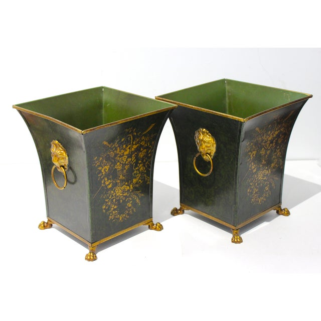 Vintage Dark Green Cachepot With Lion Handles - a Pair For Sale - Image 9 of 10