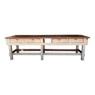 Vintage Industrial Solid Wood Work Table For Sale