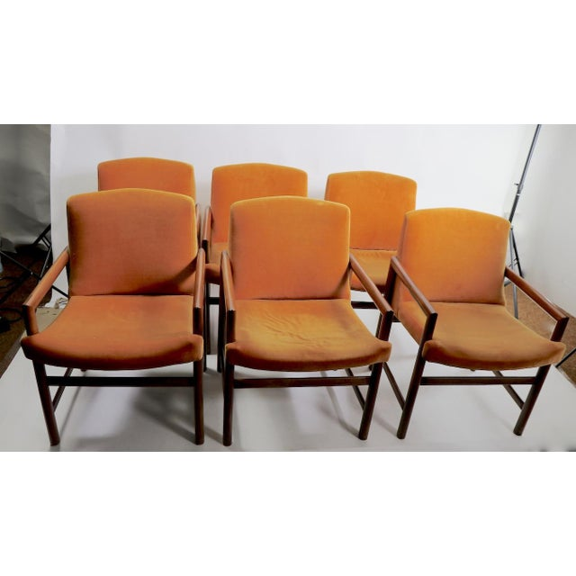 Set of 6 Rosewood Frame Dining Chairs by Baughman For Sale In New York - Image 6 of 13