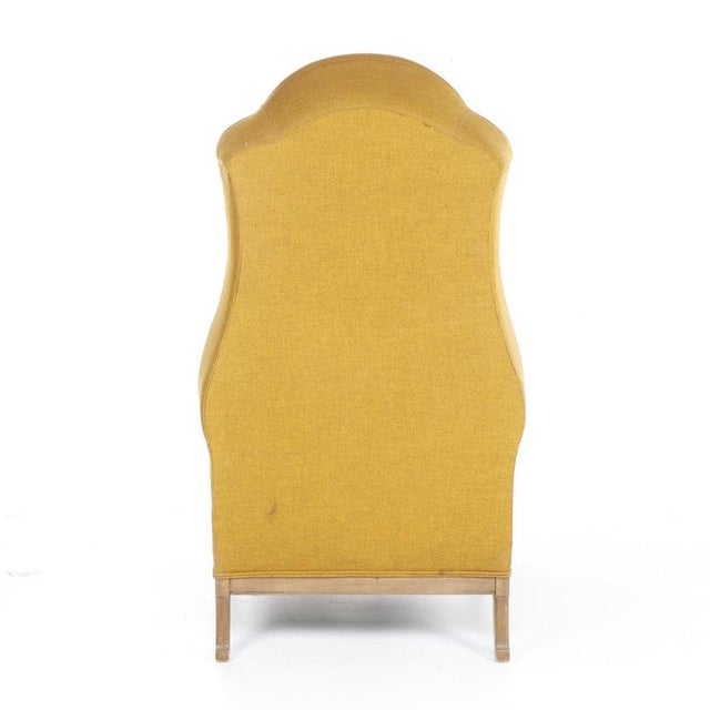 Hollywood Regency Vintage Mid-Century Porter's Chair in Mustard Wool Upholstery on a Limed Wood Base For Sale - Image 3 of 13