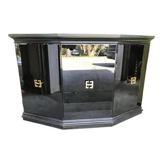 James Mont Style Black Glass Cabinet For Sale