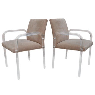 Pair of Thick Lucite Armchairs For Sale