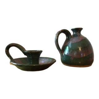 Vintage Green Glazed Studio Pottery Small Pitcher and Candle Holder - a Pair For Sale
