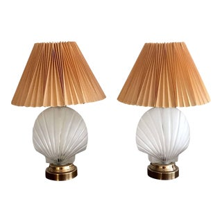 Shell Form Glass Table Lamps - Pair For Sale