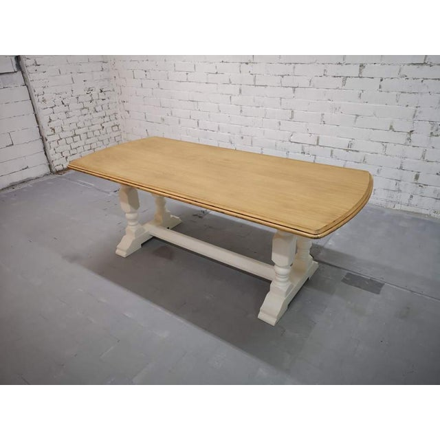 1980s Vintage Restored Like New French Farmhouse Trestle Dining Table Boho Chic For Sale - Image 5 of 11