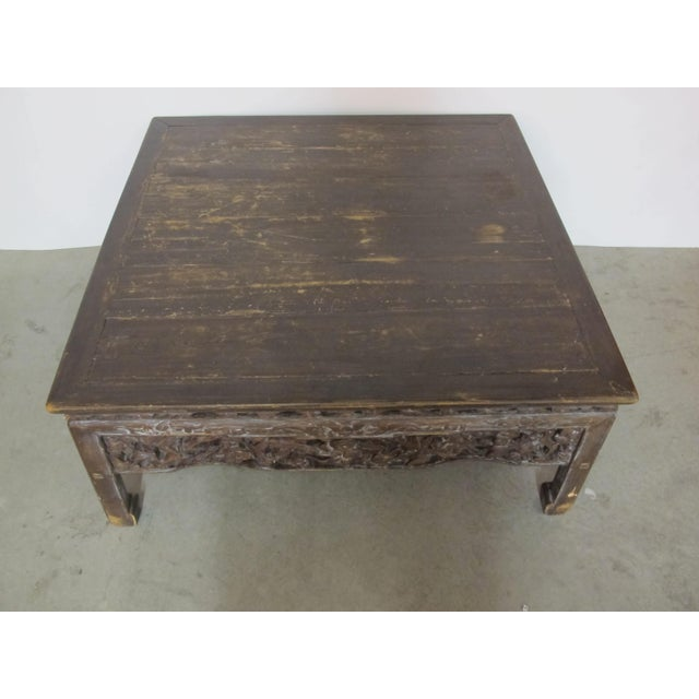 Asian Antique Asian Chinese Solid Wood Coffee Tea Table For Sale - Image 3 of 11