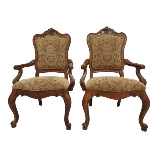 1990s Ethan Allen Tuscany Pretzel Back Dining Room Arm Chairs- A Pair For Sale