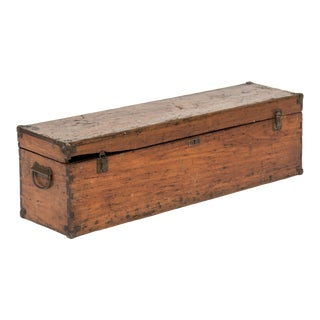 Antique Oak Tool Chest With Tray For Sale