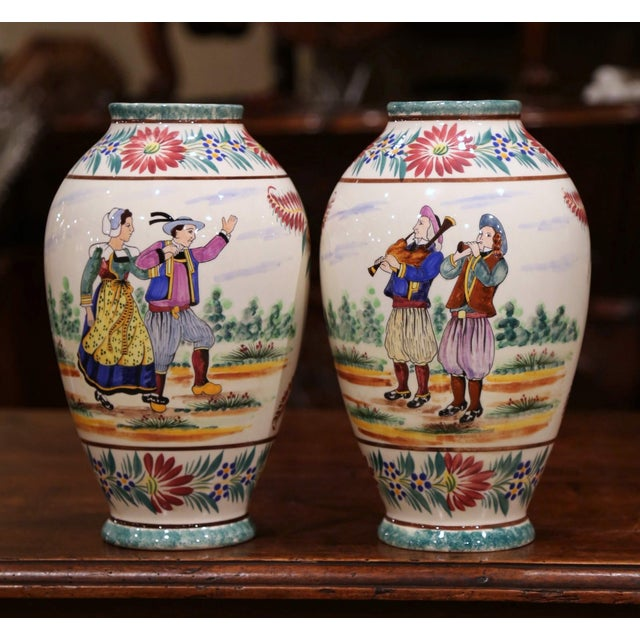 Ceramic Pair of Early 20th Century French Hand Painted Vases Signed Hb Quimper For Sale - Image 7 of 12