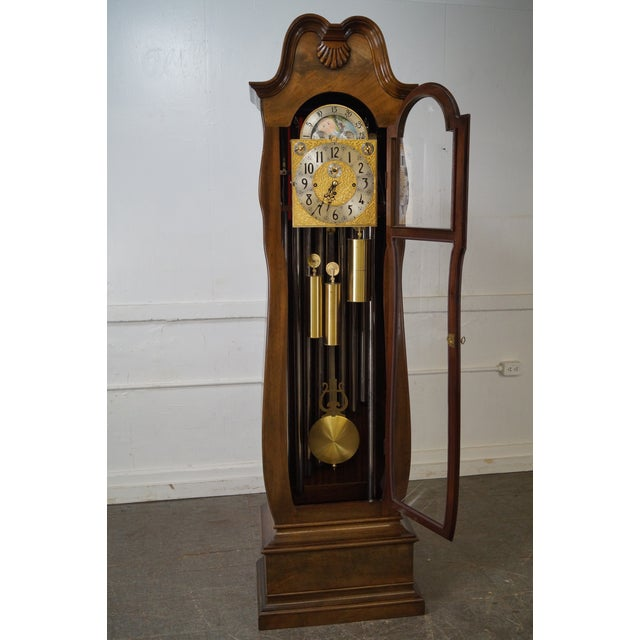 Store Item #: 14912-fw Herschede 9 Tube Mahogany Bombe Tall Case Grandfather Clock AGE/COUNTRY OF ORIGIN: Unknown, America...