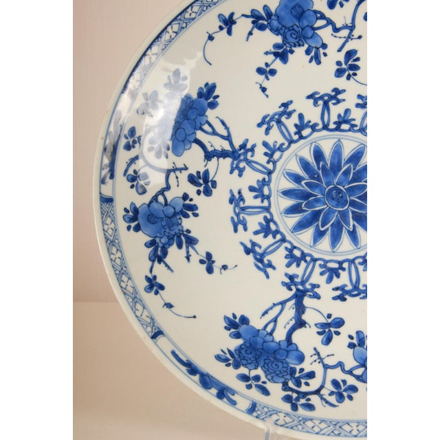 17th Century Antique Chinese Ming Porcelain Blue and White Deep Charger Bowl For Sale - Image 9 of 12