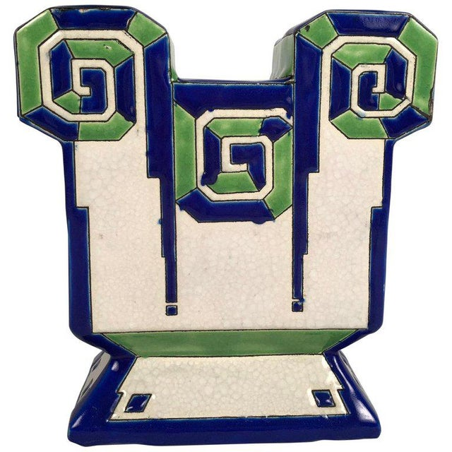 Art Deco Geometric Ceramic Vase by Boch Freres For Sale - Image 9 of 9