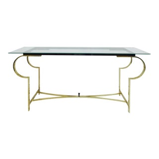 Vintage Mid-Century Modern Brass & Glass Console Table