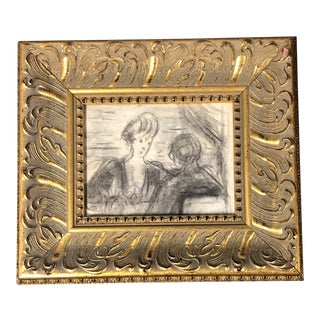 Original Vintage Charcoal Figure Study Charcoal Sketch Ornate Frame For Sale