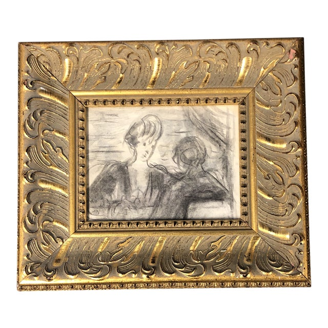 Original Vintage Charcoal Figure Study Charcoal Sketch Ornate Frame For Sale