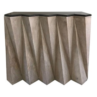 Contemporary Marble-Topped Zig Zag Console